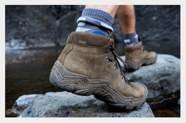 Product photo of walking shoes taken in an authentic setting